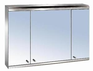 Image Is Loading Luxury 3 Door Stainless Steel Bathroom Mirror Cabinet