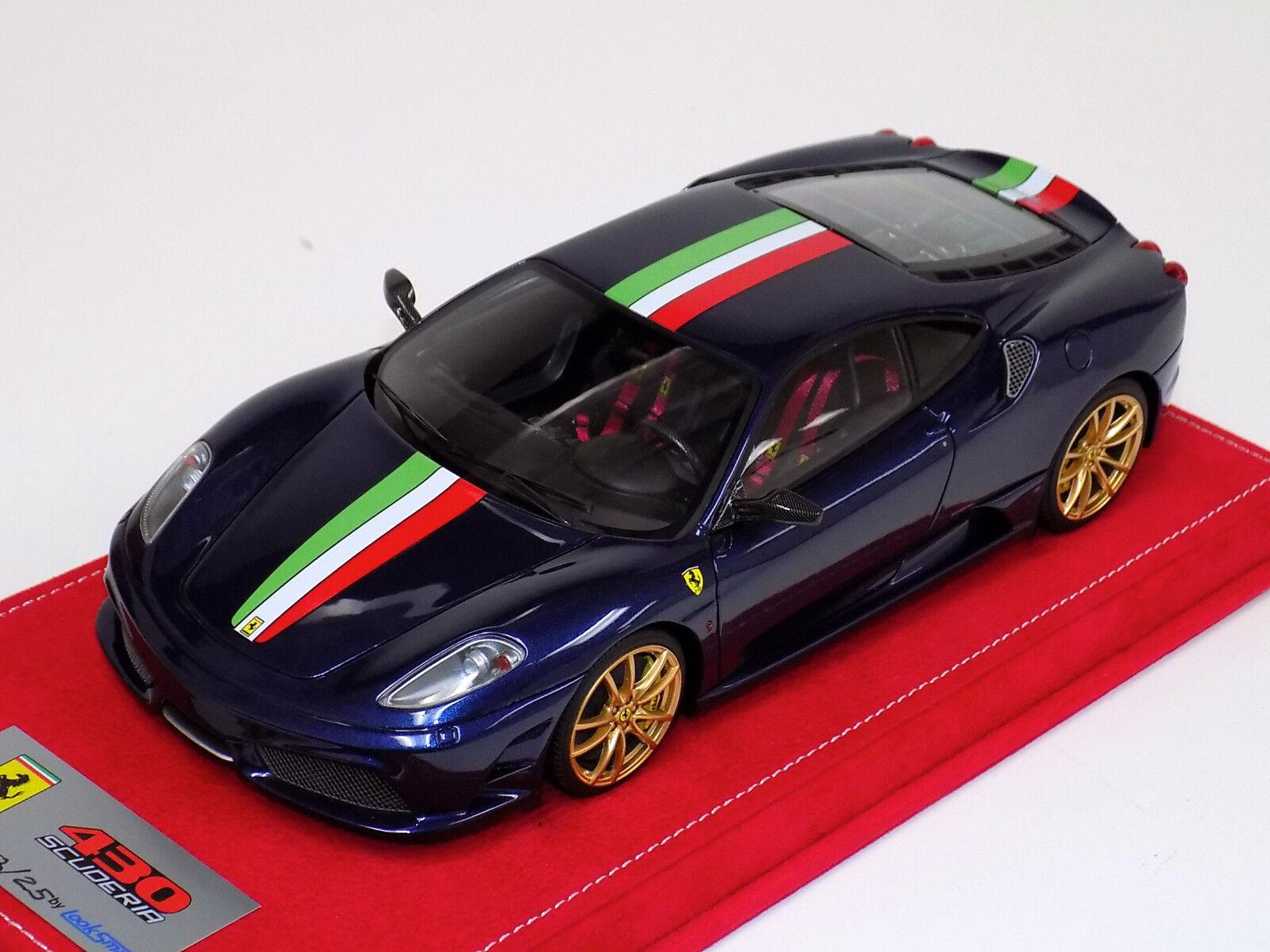 1 18 Looksmart Ferrari F430 Scuderia bluee tdf Italian stripe gold WheelAlcantar