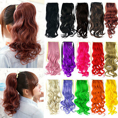 Ladies Long Wavy Curly Ponytail Hair Piece Tress Clip Hairpiece Extension