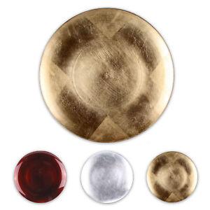 Dekoteller-28-cm-aus-Melamin-Obstteller-Teller-Kunststoffteller-rot-gold-silber