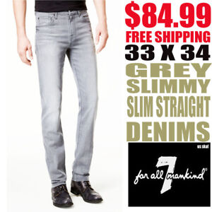 7-For-All-Mankind-Men-039-s-NWT-Slim-Straight-Grey-Shadow-33-X-34-Jeans-Free-Ship
