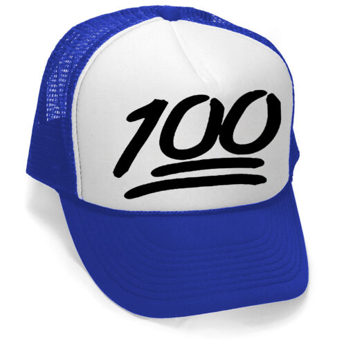 New 100/% Emoji Trucker Hat Blue//White Cap Workout Sports Fitness Funny Humor Gym