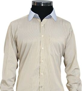 Mens-Penny-collar-Shirts-Brown-Oxford-Stripes-Peaky-Blinders-Club-Round-Gents
