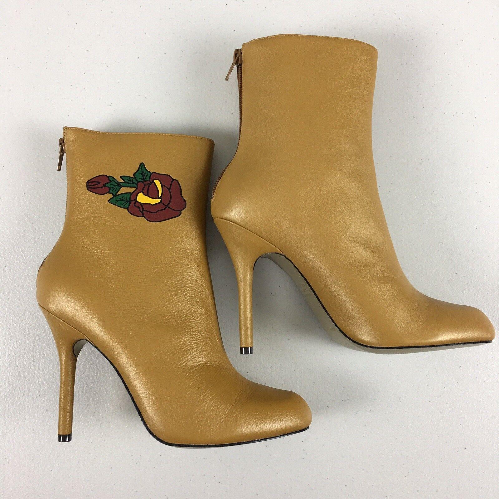 Martinez Valero Tan Leather Ankle Stiefel Größe 7.5 Rosa Print Heels