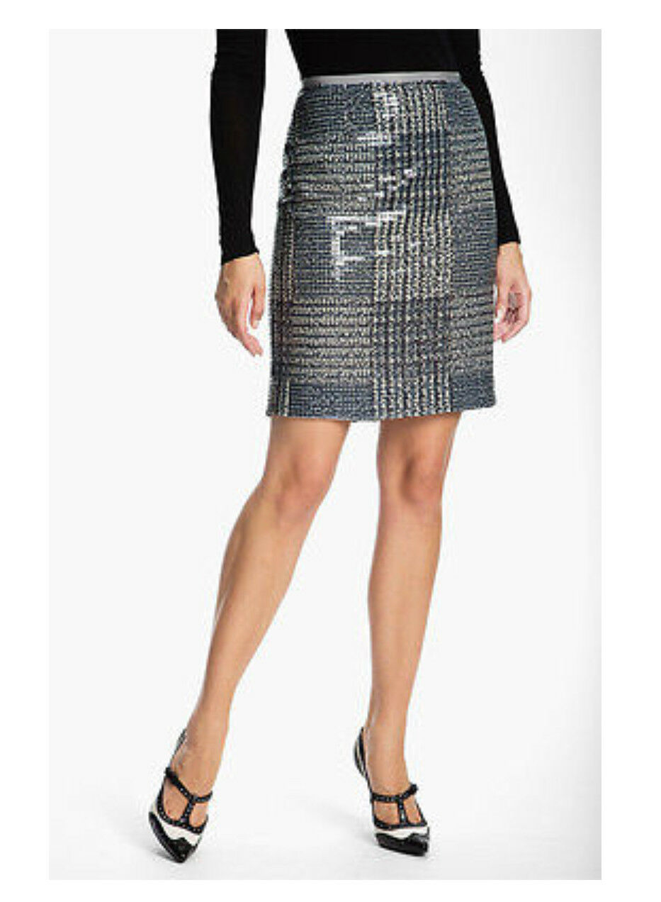 NWT Tory Burch Bristol Sequin Pencil Skirt Pd  375 Navy Grey Holiday Party Skirt