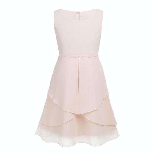 Girls Sleeveless Lace Floral Chiffon Dress Wedding Bridesmaid Flower Girl Dress