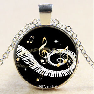 Piano Music Photo Tibet Silver Cabochon Glass Pendant Necklace Jewelry