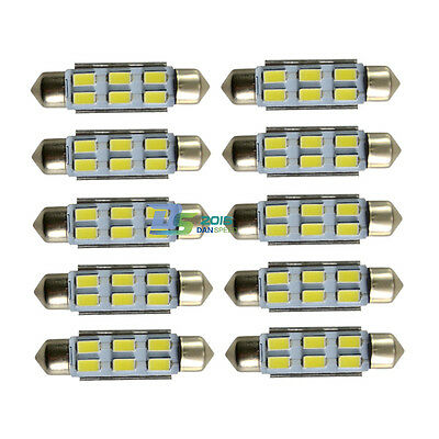 10pcs 39mm Car 6 SMD LED Festoon Canbus Bulb Light Interior Dome Lamp Bulb White