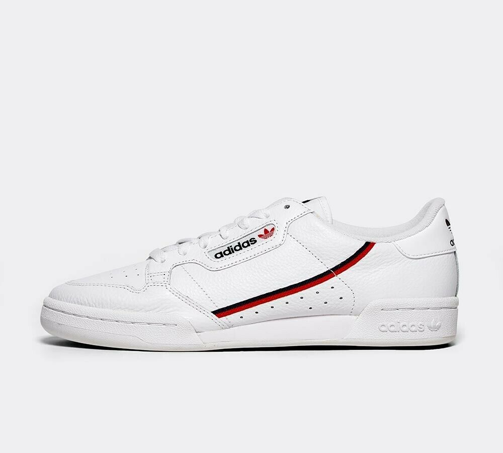 Mens Adidas Continental 80 Weiß Scarlet Navy Trainers (SF1)