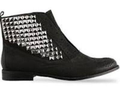 Sam Edelman Joss Black Nubuck Studded Wingtip Boots Women's U.S. 6.5 M