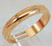 18kt Yellow Gold Plated 4mm Ribbed Wedding Band Ring