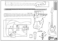 1960 J-Bass Zeichnung / Bauplan - w. Fender Jazz Bass Jazzbass f. Tonholz