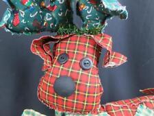 BIG HANDMADE FOLK ART CHRISTMAS REINDEER PATCHES BELL PLUSH STUFFED ANIMAL TOY
