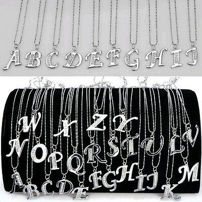 HOT A-Z INITIAL LETTER NAME PENDANT NECKLACE SILVER PLATED CRYSTAL W CHAIN NEW