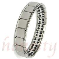 Mens Titanium Bracelet Silver Bio Therapy Arthritis Health Pain Relief
