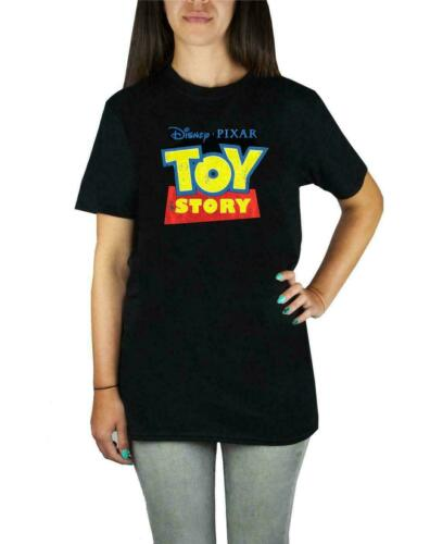 Disney Pixar Toy Story Distressed Logo Women/'s Boyfriend Fit Black T-Shirt