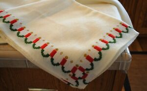 Vintage Woven White Christmas Tablecloth Candles 84 X 56 Ebay