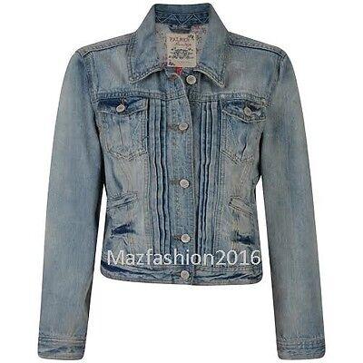 New Ladies Women Falmer Heritage Denim Fitted Vintage Jean Jacket Top Coat 8-20