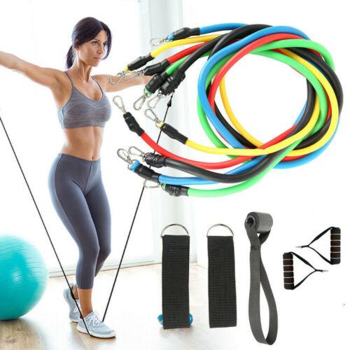 Widerstandsbänder Expander Set Gymnastikband Fitnessbänder Yoga Latexband 11tlg