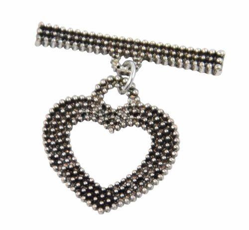 4 X Couleur Foncée en forme de cœur bascule chaîne fermoir Bijoux conclusions Fasteners