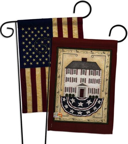GP100074-BOAA Patriotic White House USA Vintage Applique Garden Flags Pack