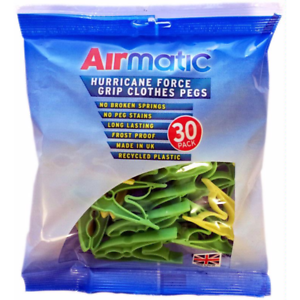 AirMatic Strong Hurricane Force Grip Clothes Pegs Recycled Plastic Pack of 30