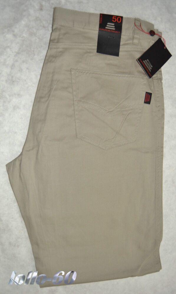Site Officiel Pantalone Uomo Jeans Cotone 46 48 50 52 54 56 58 60 62 Economico Beige European Le Prix Reste Stable