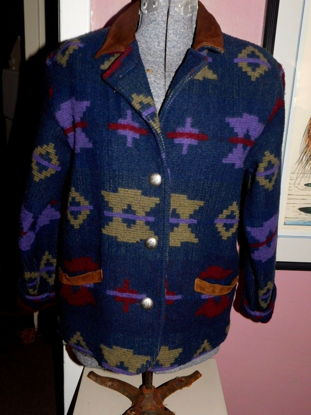 VINTAGE VINTAGE VINTAGE WOOLRICH WOMAN'S AZTEC, NATIVE AMERICAN DESIGN COAT, blueE, PURPLE, RED 88e56c