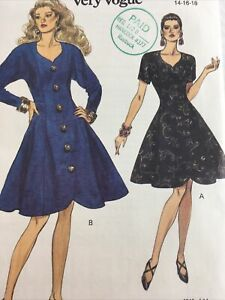1992 Vogue 8546 Vintage Sewing Pattern Womens Dress Size 14 16 18 Uncut