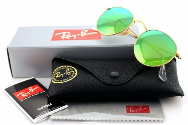 ed59a664a43 POLARIZED New RAY-BAN ROUND Metal Mirror Gold Green Sunglasses RB 3447  112 P9