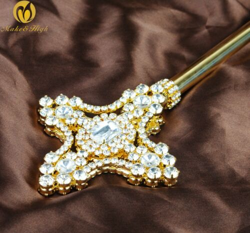 Unisex Gold Scepter Wand Double Side Crystal Sceptre Parade Pageant Party Prom