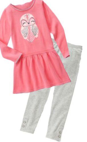 Gymboree Cozy Fairytale 6 7 Pink Owl Sweater Dress Gray Leggings Set Winter 15