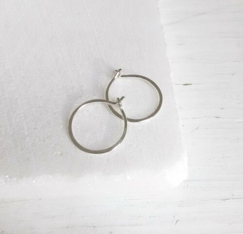 Handmade Sterling Silver Tiny Small Hammered Hoop Earring New Artisan Jewelry US