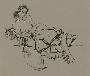 Peter Collins ARCA - c.1970s India Ink, Study of a Lady