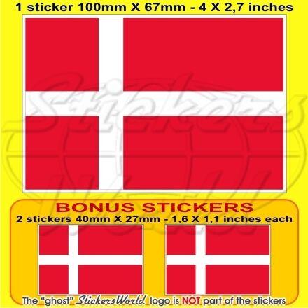 """DENMARK Danish Flag 10cm 4/"""" Bumper Sticker x1+2 BONUS"""