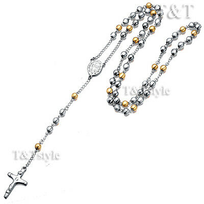 T&T 14K Gold GP 316L Stainless Steel Rosary Bead Necklace (RB05)