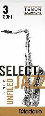 1 Box of 5 D'Addario/Rico Select Jazz Reeds Unfiled. Tenor Saxophone 3-Soft (3S)