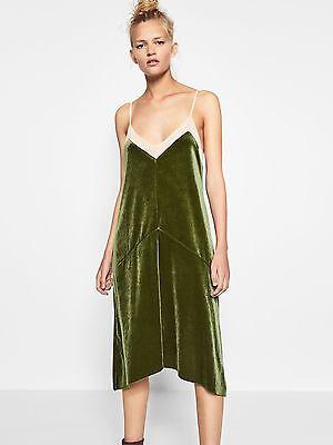 BNWT Zara V neck velvet green strappy Midi dress size L Blogger Fav