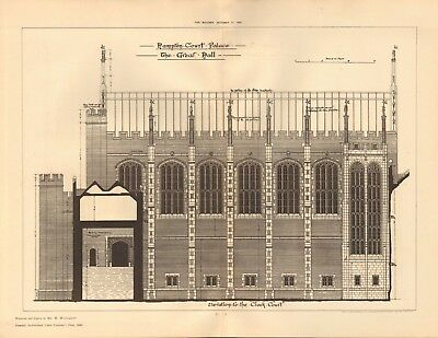 London hampton Court Palace-great Hall Drip-Dry Humble 1891 Antique Print Architecture