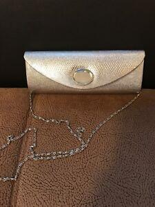 BAG 12A Elegant silver colour evening clutch bag