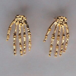 Image Is Loading Creepy Gold Tone Skeleton Hand Stud Earrings Uk