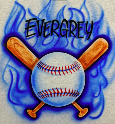 Airbrush T Shirt Baseball and Crossed Bats with Blue Flames /& Name