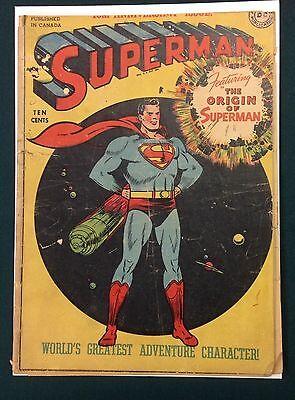 1948 SUPERMAN #53 Canadian DC Comics ORIGIN ISSUE RARE! (3.0)