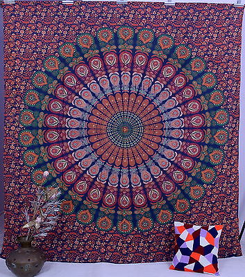 Custom For (gypsy_love) 3 PC Blue Peacock Indian Mandala Queen Wall Hanging
