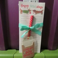 Happy Howlidays Pair Dachshund Lined Magnetic Note Pad New With Pen Gift Tag