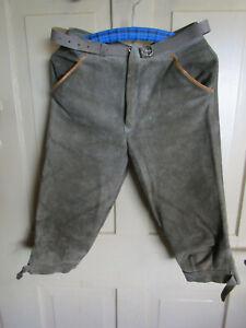 Kinder Trachten-hose Kniebundhose Gr. 158 Knickebocker Leder grau Seppelhose TOP