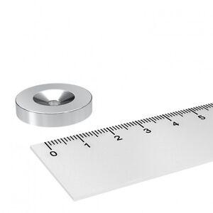 20 STÜCK 25x5 mm NEODYM SCHEIBEN MAGNET MIT 4.2mm BOHRUNG UND SENKUNG WERKSTATT