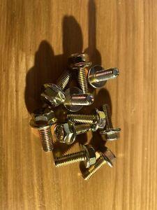 10pcs M6x 20mm 8.8 Grade Yellow Zinc Plated Hex Head Bolt