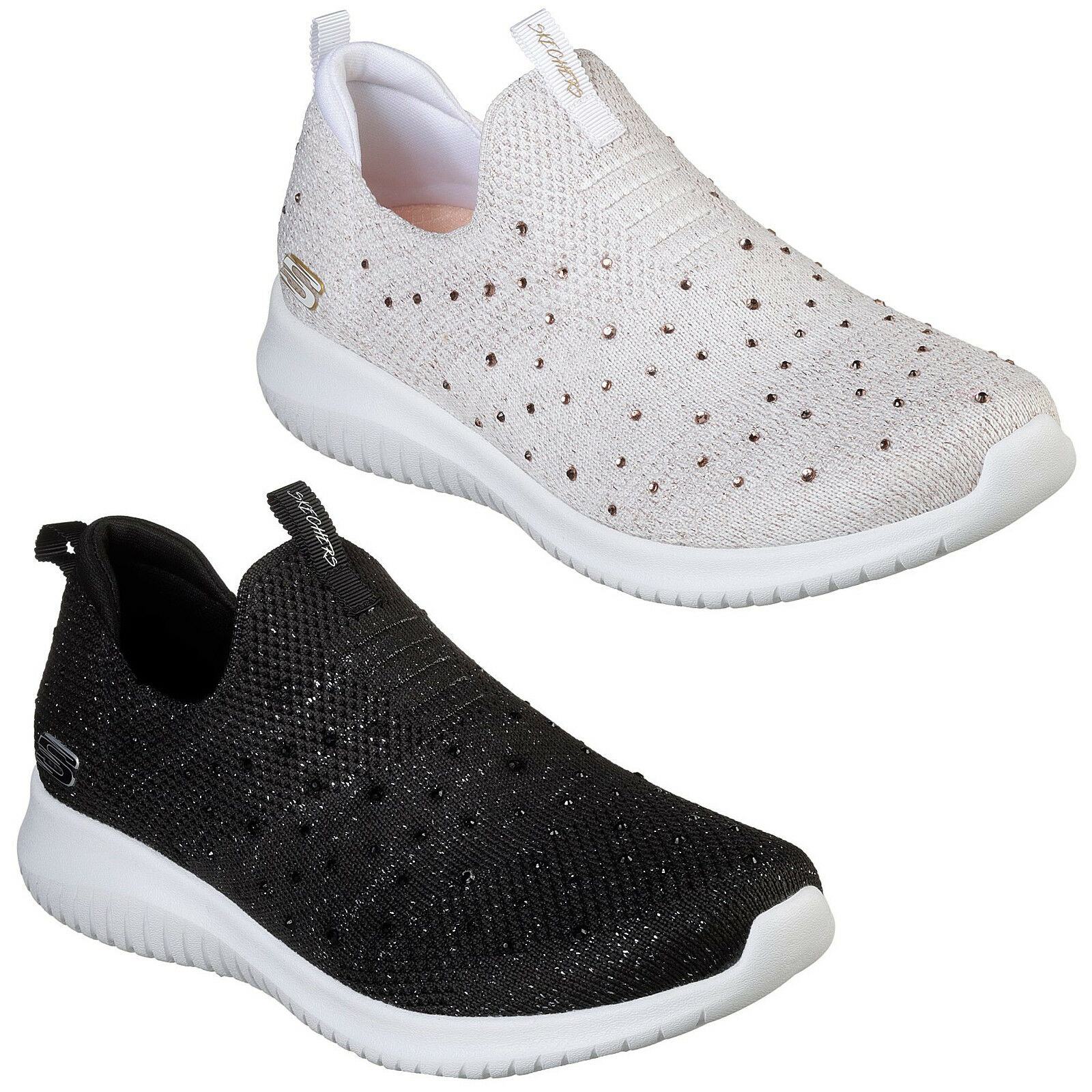 Skechers Ultra Flex - Thrive Up Trainers 13113 Womens Jewel Sparkle Mesh shoes