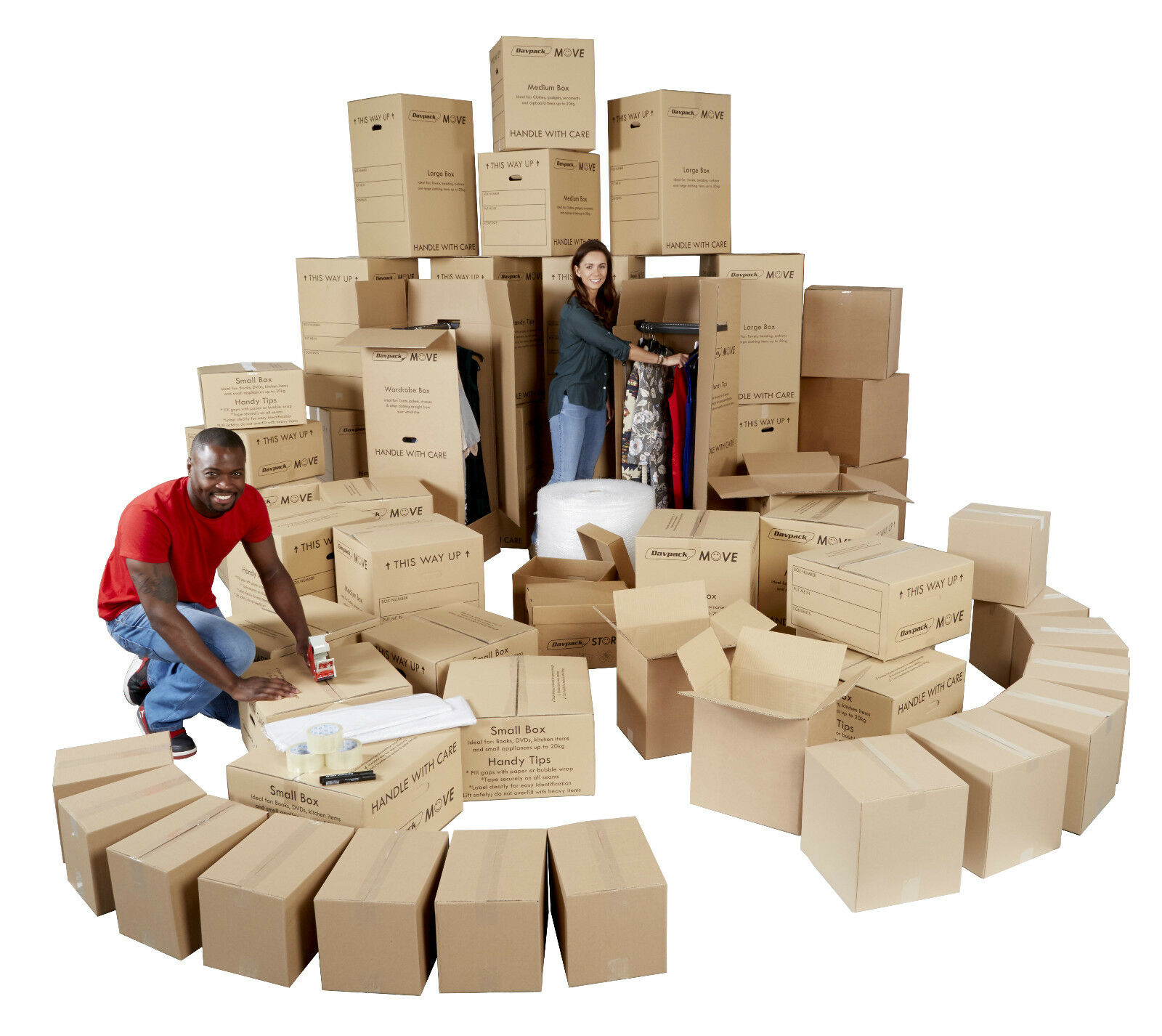 Jumbo 60 Piece House Moving Kit - Removal & Storage Cardboard Boxes